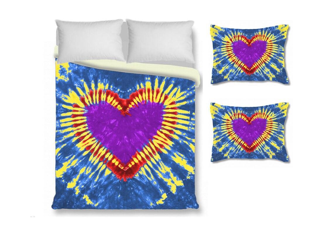 housse de couette coeur avec couvre oreiller coeur tie dye. Black Bedroom Furniture Sets. Home Design Ideas