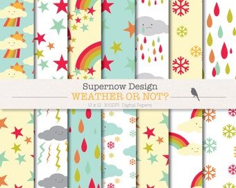 40% Off Digital Paper Pack 'Weather or Not' Rainbow Weather Scrapbooking Papers - Rain, Clouds, Lighting, Snow -Instant Download