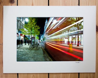 A4 mounted print of long exposure, traffic in London
