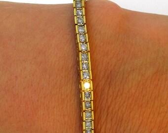 "14K Yellow Gold Large Diamond Straight Line Classic Elegant Tennis Bracelet 7"""