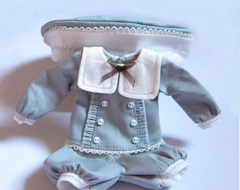 Blythe Vintage Blue Sailor Top, Pants & Hat Set