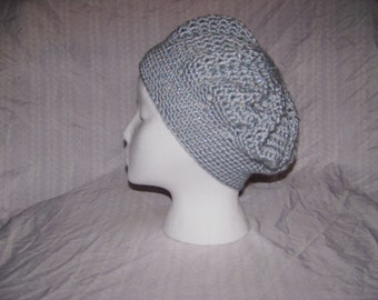 Crochet Slouchy Hat, Sparkle Grey for Girls and Ladies