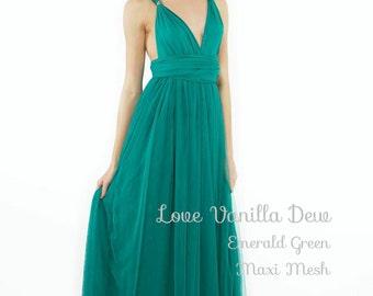Bridesmaid Dress Infinity Dress Emerald Green with Mesh Floor Length Maxi Wrap Convertible Dress Wedding Dress