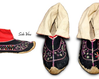 Rare Hand-embroidered Hill Tribe Shoes from Vietnam