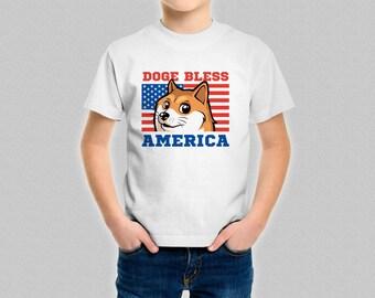 Doge Bless America Kid's T-Shirt - Boys Girls Shibe Cute Shiba Inu Funny American Patriotic God Bless America Shirt - Children's Doge Top