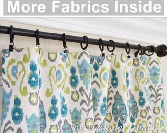 "PAIR Peacock Curtain Panels.Kiwi Green Navy Blue Curtains.Ikat Drapery.Teal Curtains 63"" 84"" 96"" Any Size"