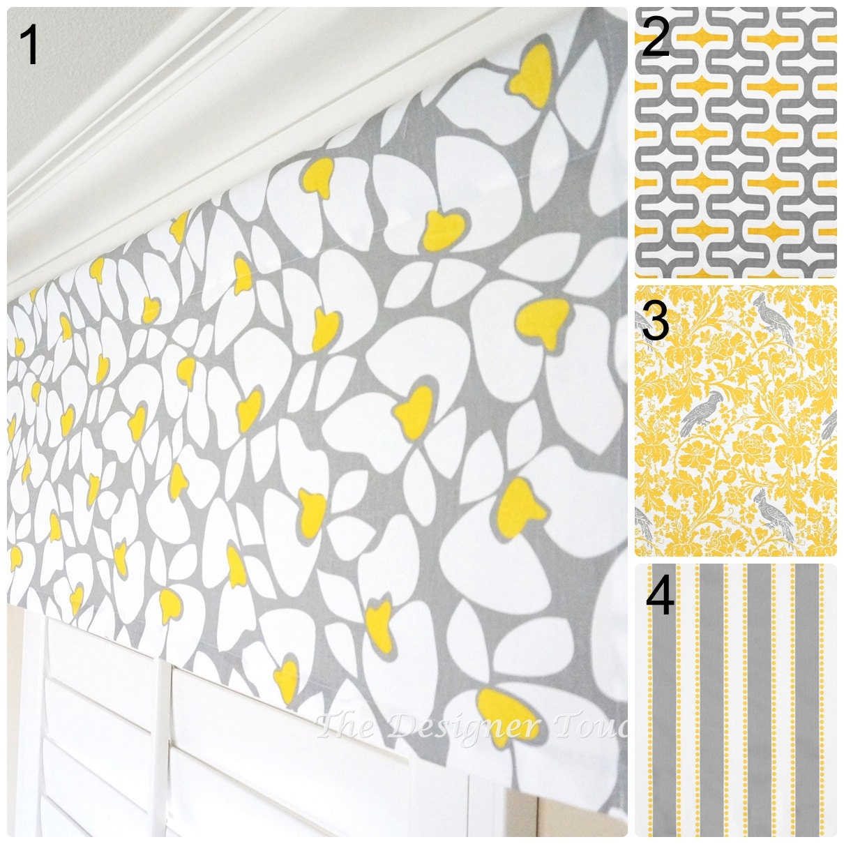 Kitchen Curtains Yellow And Gray: Yellow Grey Valance Panel Geometric Window Treatment Yellow