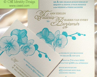 Orchid Letterpress Wedding Invitation Suite