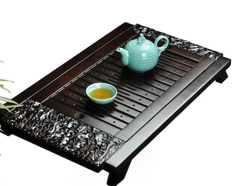 Chinese Kung Fu Tea Tray with Pull Out Part Solid Wood