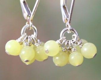 Olive Jade Cluster Earrings