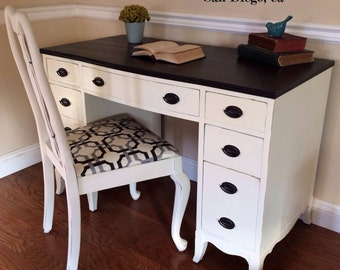Vintage Desk with chair. Shabby chic white and black. Lots of storage. Chalk painted-SOLD
