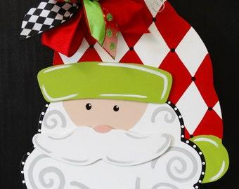 Whimsical Santa Door Hanger, Christmas Door Decor, Christmas Wreath