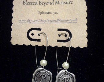 Wax seal initial earrings