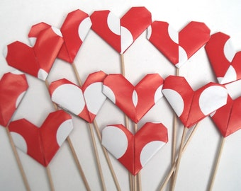 Origami Heart cake toppers forValentine day cake Birthday cake Wedding cake Christmas cake any party cake.