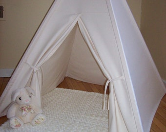 Canvas Teepee with Wood Poles, Play Tent, Play House, Photo Prop