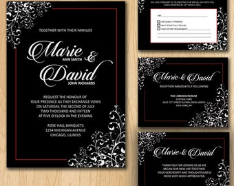 Elegant Black with Red Accent Wedding Invitation Package - Printable Digital Files ONLY