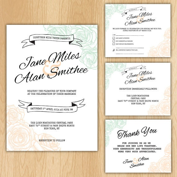 Cheap Wedding Invitations Packages: Floral Wedding Invitation Package Printable Digital Files