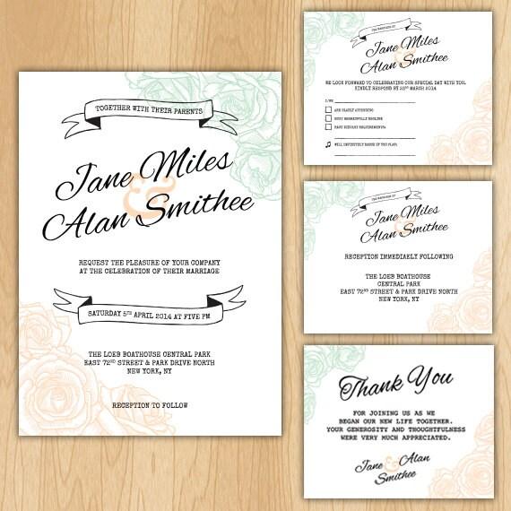 Complete Wedding Invitation Kits: Floral Wedding Invitation Package Printable Digital Files