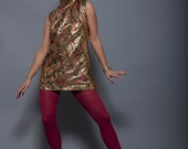 60's Gold Metallic Paisley Color Print Mockneck Sleeveless Top/Mini Dress