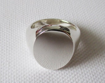 Large 19x14mm solid silver signet ring