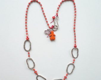 Round Round Roundabout/ Coral Red Necklace