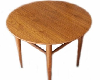 mid century modern side coffee wood table by mersman on sale