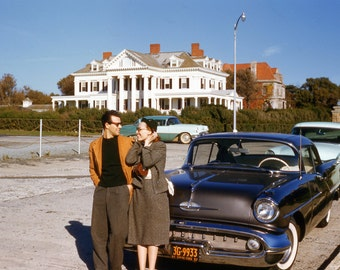 1957 New York 2 Lovers and their Oldsmobile from 35mm slide