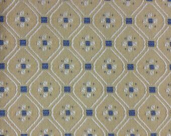 Diamond and Dots - UpholsteryFabric - Blue and Yellow Fabric