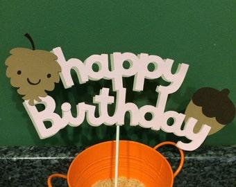 Happy Birthday Woodland Animal Cake Topper