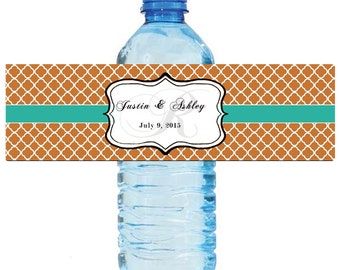 Copper and Teal Monogram Wedding Water Bottle Labels Great for Engagement Bridal Shower Party 2 sizes available