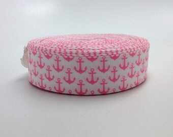 7/8 White and Pink Nautical Anchors Grosgrain Ribbon