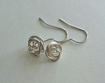 Wire rose earrings