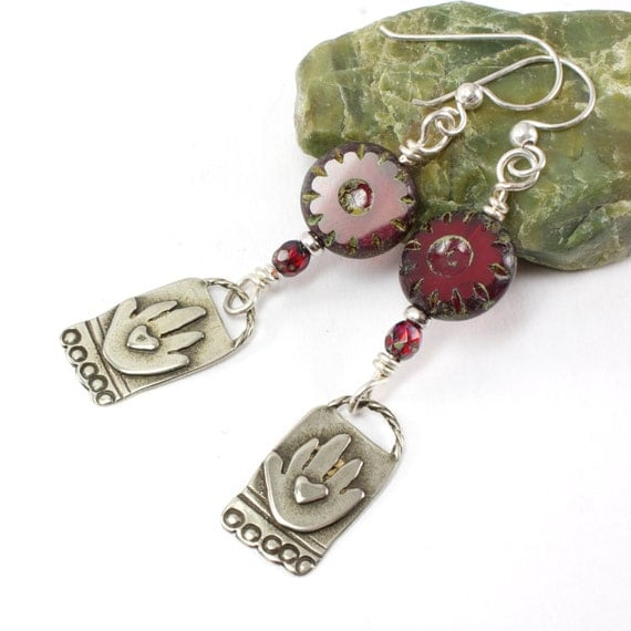 Handmade Silver Earrings Heart In Hands Artisan Charms Red Czech Glass Beads With Picasso Finish