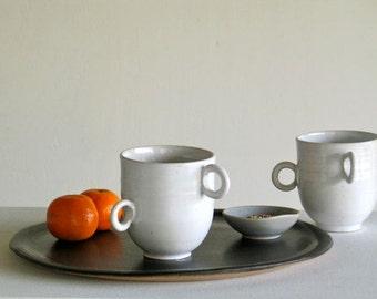 Mug céramique 450ml. Grande tasse en grès émaillé blanc. Mug à thé, mug à café. Tourné à la main.