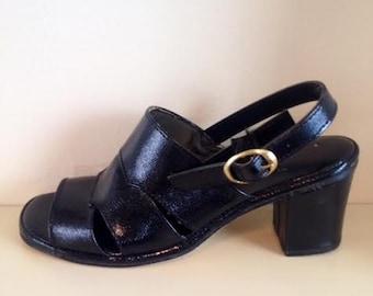 Vintage Black Mod Sandals with Heel Size 7