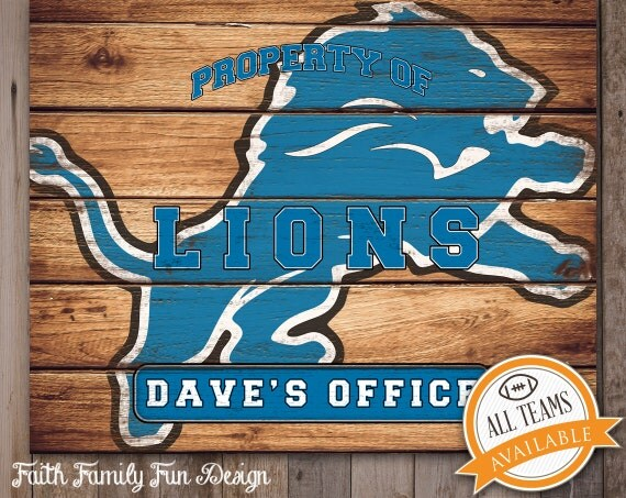 Personalized Nfl Man Cave Signs : Nfl detroit lions team sign printable by faithfamilyfundesign