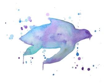 Purple Sea Turtle Watercolor Painting