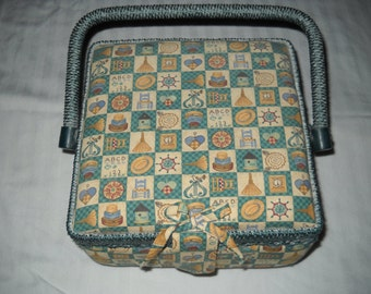 Sewing Basket - Teal Material with Lovely Pattern.