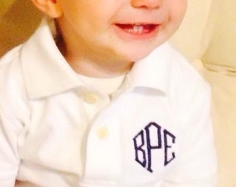 Monogrammed Toddler/Boys Short Sleeve Polo