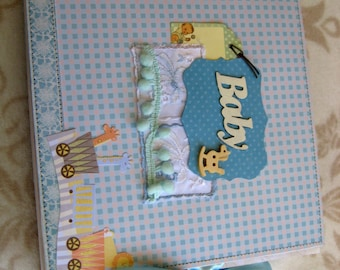 Baby Boy Mini Album,Baby Boy Mini Scrapbook Album,  Baby Boy Scrapbook, Baby Boy Photo Album, Baby Boy Brag Book, Chipboard Album