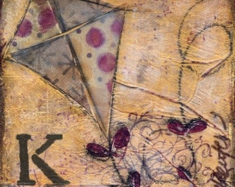 Kite Mixed Media - 6x6, 8x8 and 12x12 Print of Original