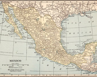 Vintage 1923 Mexico Map 1923 Original Print Neat Collectible Atlas Map Wall Art Gallery Print