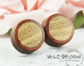 Mini Ear studs wooden fake gauge plugs wood post earrings small ear studs made of wood handmade mini earring