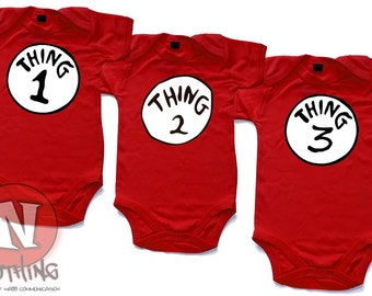 Thing 1 and Thing 2  and Thing 3 red babygrows very cute for triplets. Babygro baby suit in sizes from 0 to 18 months