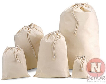 "Natural cotton drawstring stuff bag for arts, craft, party and wedding favors. 10"" x 12"" (25 x 30cm) unbleached and natural"