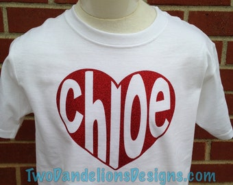 Valentine Tshirt YOUTH Name in Heart
