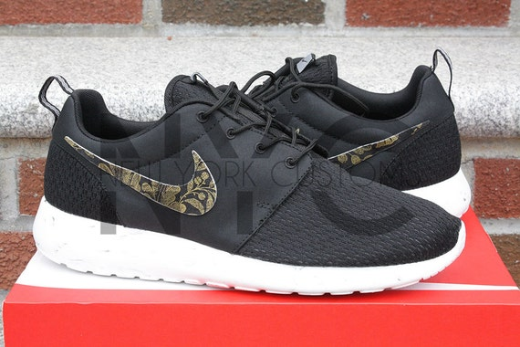 Nike Roshe Run Black Marble Metallic Gold Floral By Nycustoms