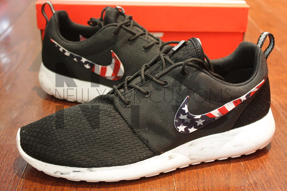 ... Nike Roshe Run Black Marble American Flag Pride Print V3 Edition Custom.  🔎zoom