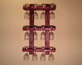 Stemware rack. 12 Glass. Color Pictured: Antique Red Wine