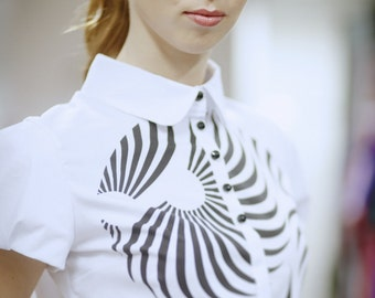 White blouse with black abstract print, short puff sleeves